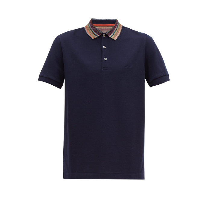 Navy Missoni Contrast Collar S/S Polo
