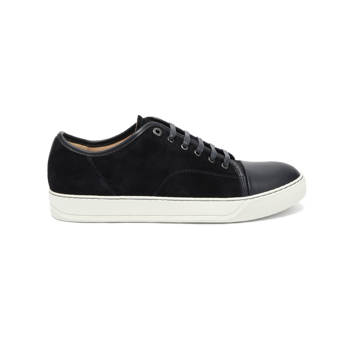 Navy Lanvin Matt Cap Toe Trainers