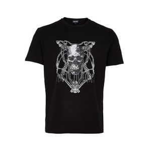 Black Just Cavalli Skull Motif T-Shirt