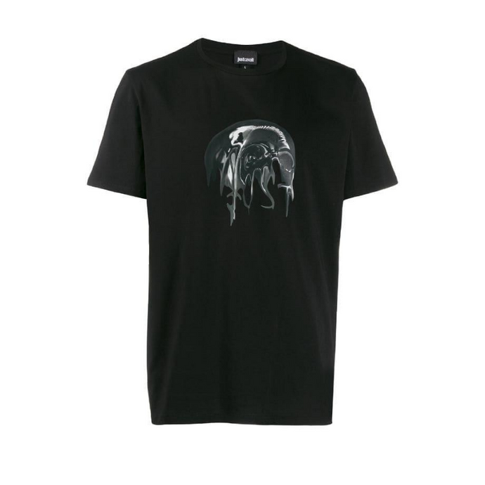 Black Just Cavalli Liquid Skull T-Shirt