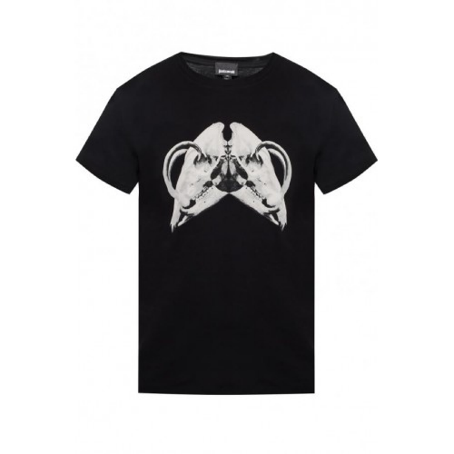Black Just Cavalli Rams Skull T-Shirt