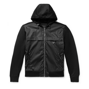 Black Prada Nylon Panelled Badge Jacket