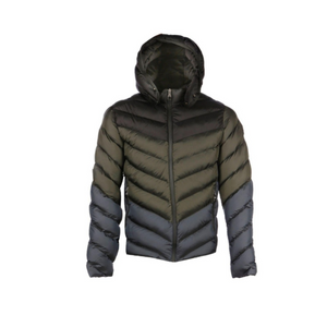 7TH HVN Chevron Bubble Coat - Khaki/Grey