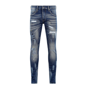 7TH HVN Ripped Faded Slim Jeans - Blue Washed