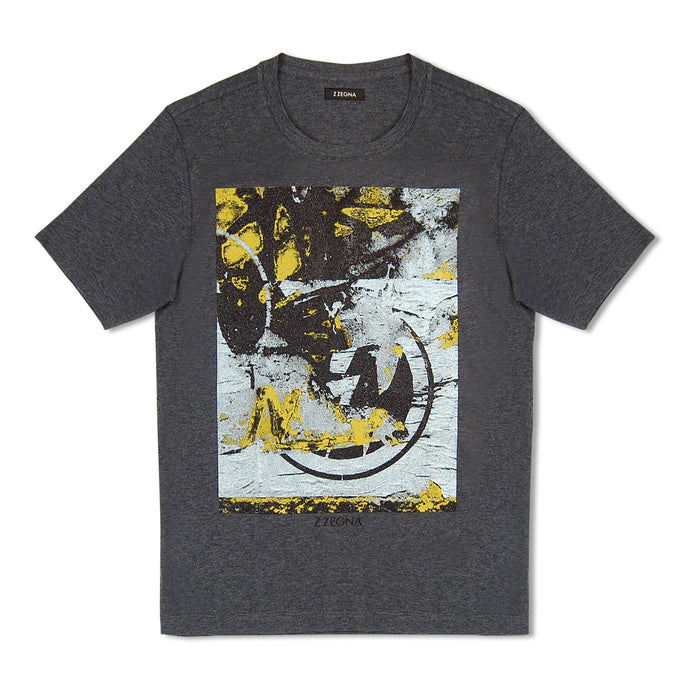 Grey Zegna Textured Print T-Shirt