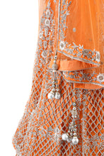 Load image into Gallery viewer, Orange Bridal Lehenga