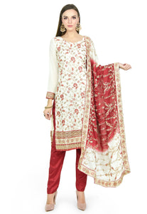 Maroon and White Churidar - Chahat