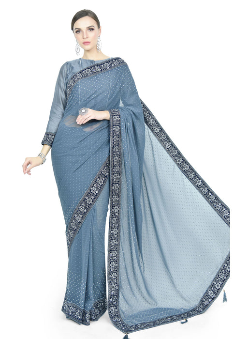 Light Aquarian Blue Saree - Chahat