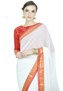 RED AND WHITE SAREE - Chahat