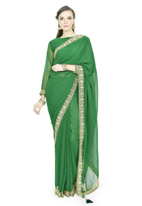 DARK GREEN SAREE - Chahat