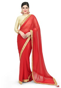 CHERRY RED SAREE - Chahat