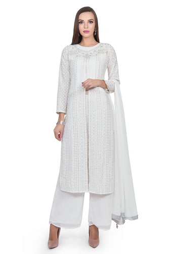 White Rose Suit with Plazzo - Chahat