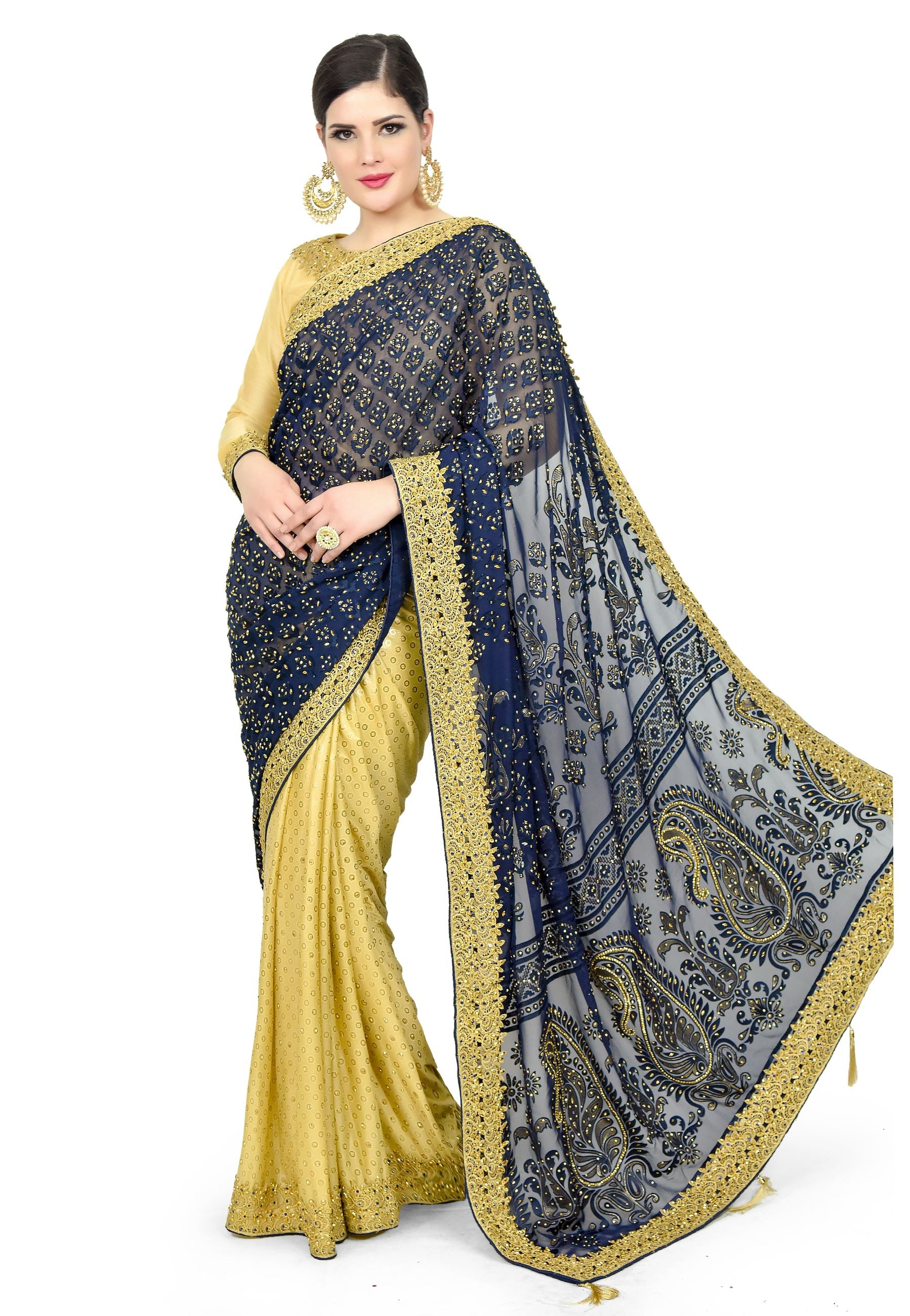 NAVY BLUE SAREE - Chahat
