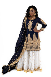 Navy Blue Gharara