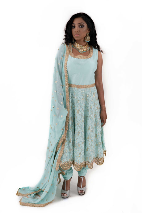 Sky Blue Anarkali Suit - Chahat