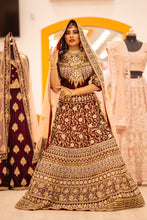 Load image into Gallery viewer, Maroon Red Bridal Lehenga