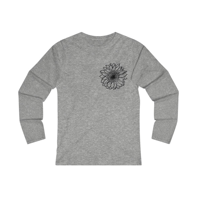 Women's Fitted Long Sleeve  Sunflower Tee
