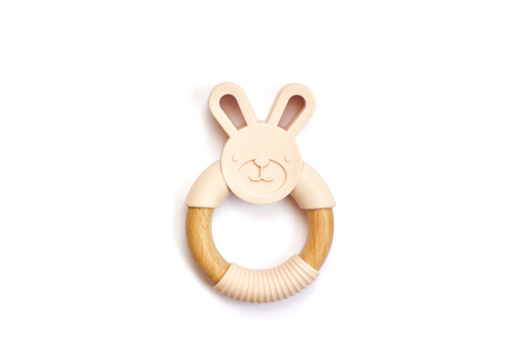Bunny Silicone Wood Teethers // Blush - Knots and Dots