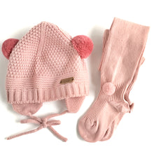 Load image into Gallery viewer, Sand Stitch Beanie with Pompoms // Dusty Pink - Knots and Dots