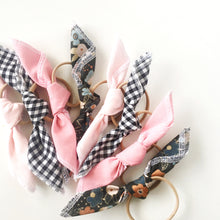 Load image into Gallery viewer, Handkerchief Tie // Black Gingham - Knots and Dots