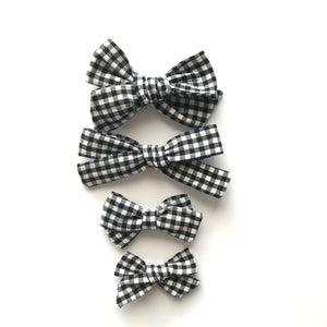 School Girl Bow // Black Gingham - Knots and Dots