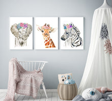 Load image into Gallery viewer, Baby Savannah Animals Watercolour Print Set - Knots and Dots