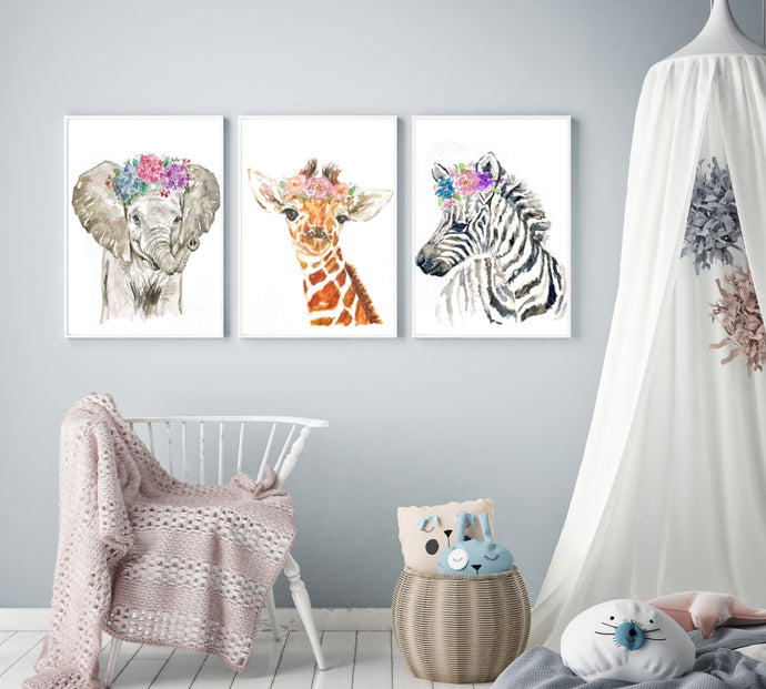 Baby Savannah Animals Watercolour Print Set - Knots and Dots