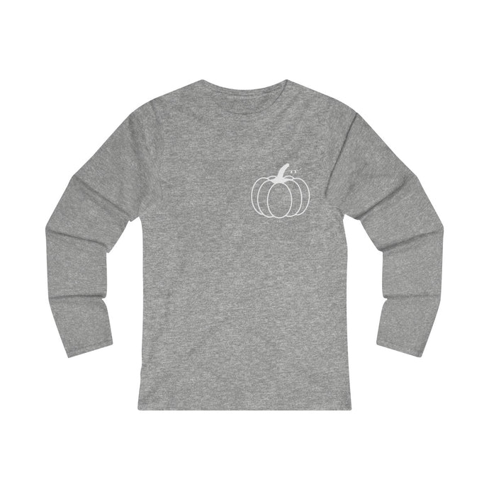 Women's Fitted Long Sleeve  Pumpkin Tee (white)