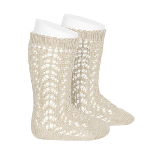 Open work knee high socks // Beige - Knots and Dots