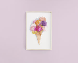 Ice Cream Watercolour Print - Knots and Dots