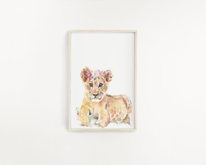 Baby Lion Watercolour Print - Knots and Dots
