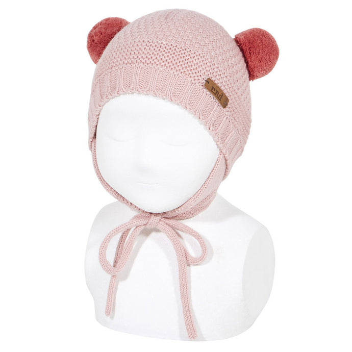 Sand Stitch Beanie with Pompoms // Dusty Pink - Knots and Dots
