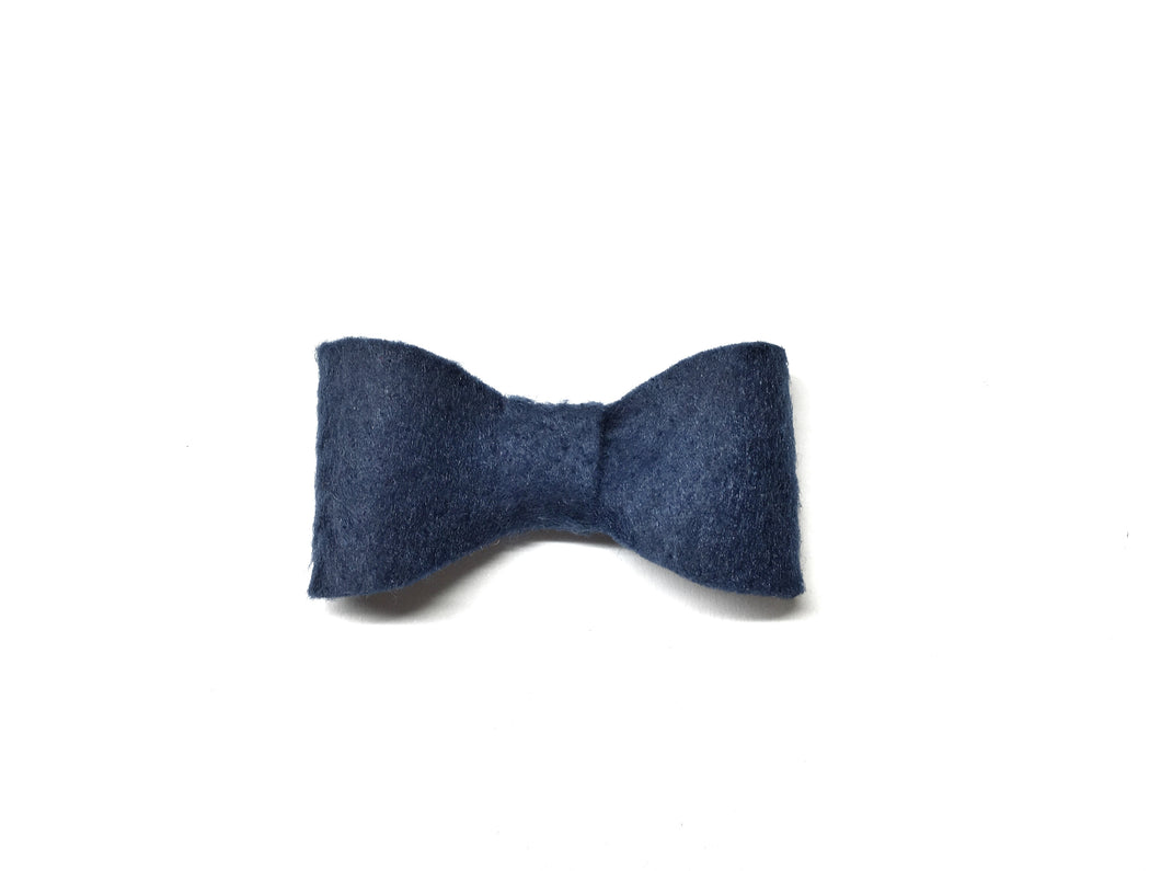 Blue Felt // Mini Bow - Knots and Dots