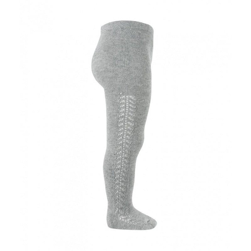Openwork warm-cotton tights // Light Grey - Knots and Dots
