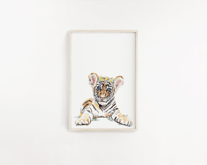 Baby Tiger Watercolour Print - Knots and Dots