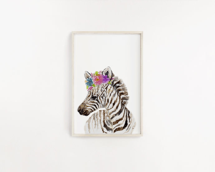 Baby Zebra Watercolour Print - Knots and Dots