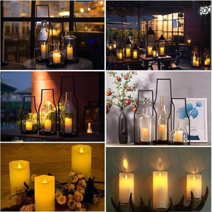 Eco-Friendly Remote Control LED Ivory Color Pillar Candles with Timer