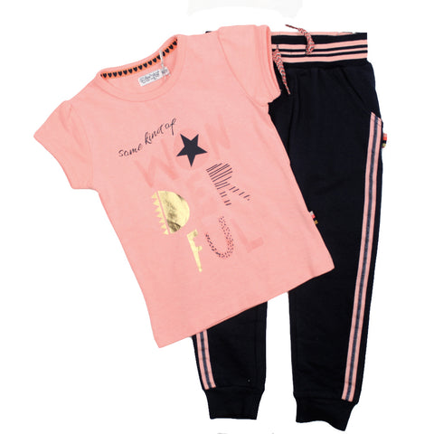 Dirkje Little Girl Coral Tee Navy Jogger Set