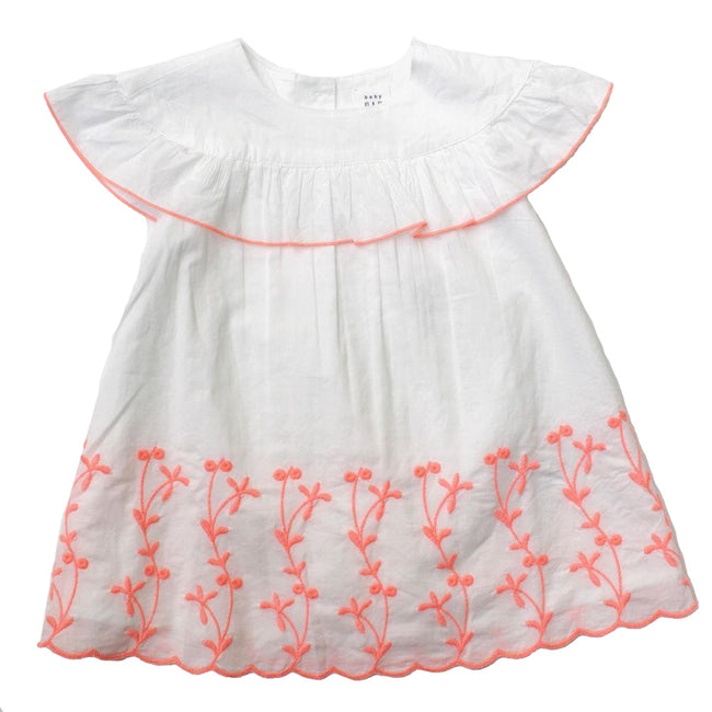 Baby Girl Dress White and Neon Pink Dress with Bloomers