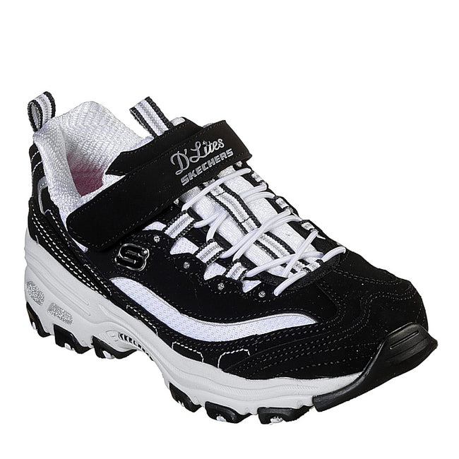 Skechers D'Lites Crowd Appeal Shoes Black White