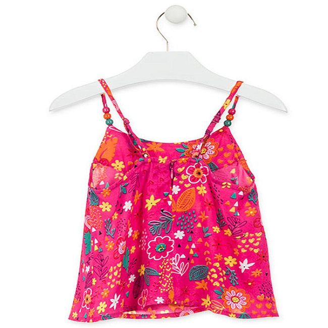 Losan Little Girl Hot Pink Tank Top Beads on Straps