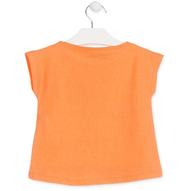 Losan Little Girl Orange Short Sleeve Jersey Top Butterfly Graphic
