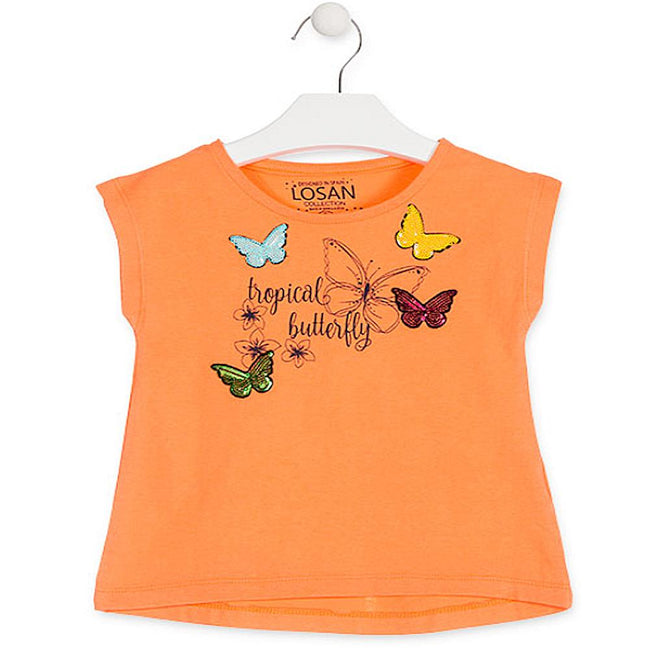 Losan Little Girls Orange T-Shirt with Butterfly Motif