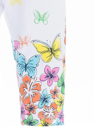 Losan Little Girl Jersey Leggings Flowers and Butterflies Print