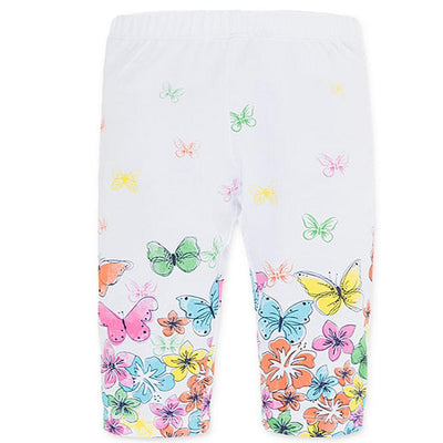 Losan Little Girls White Leggings Flower and Butterflies Print