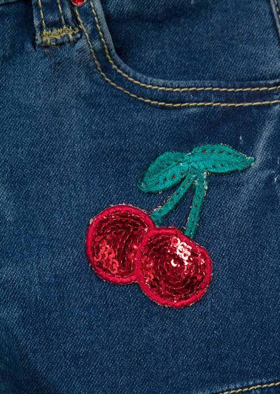 Losan Little Girl Denim Shorts Cherry Sequin Pocket