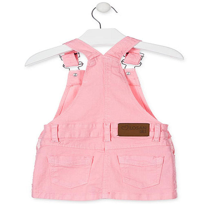 Losan Little Girl Pink Pinafore Jumper with Rhinestone Details