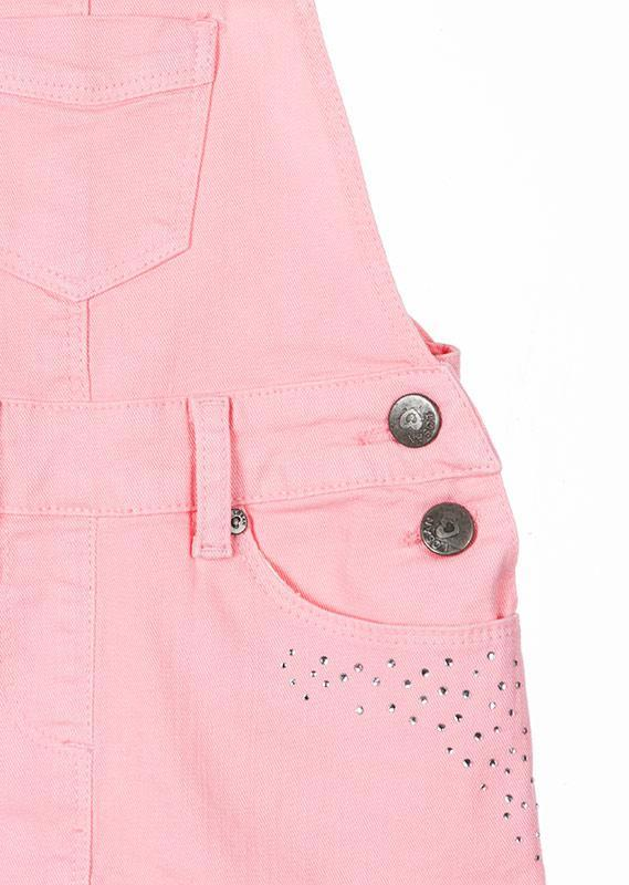 Losan Little Girl Pinafore Jumper Rhinestone Front Pocket Pink
