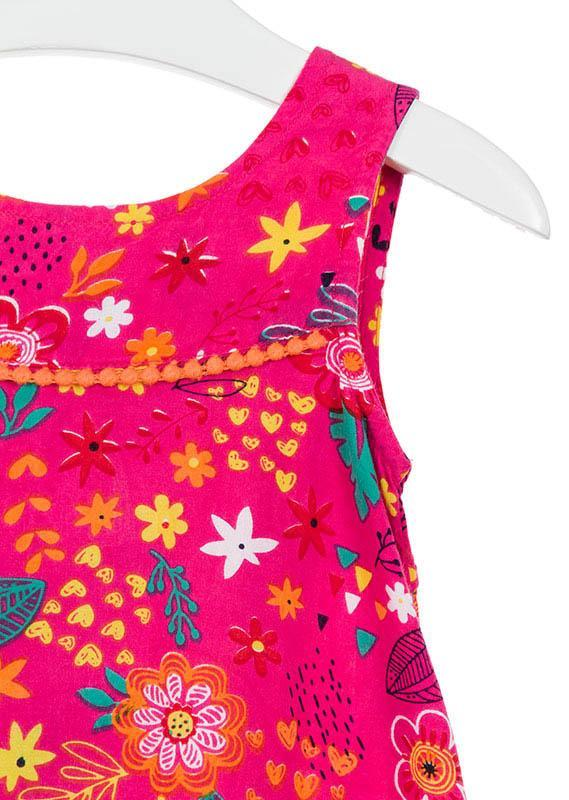 Losan Little Girl Pint Floral Print Sleeveless Dress
