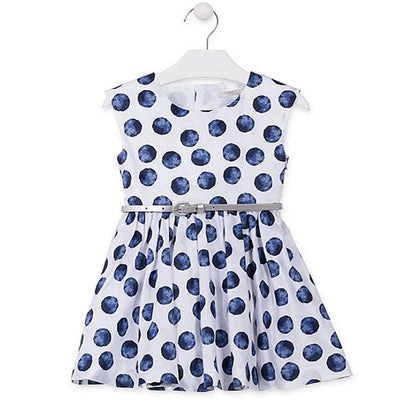 Losan Little Girls Summer White with Blue Polka Dots Dress